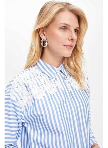 DeFacto Dantel Detaylı Çizgili Uzun Kollu Gömlek Tunik Mavi